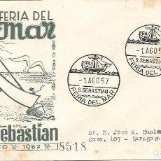 Sellos: BARCOS FERIA DEL MAR, SAN SEBASTIAN (GUIPUZCOA) 1957. RARO MATASELLOS EN SOBRE CIRCULADO EG MUY RARO. Lote 272285783