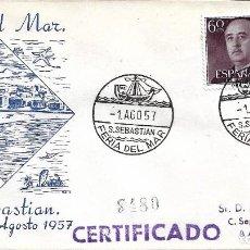 Sellos: BARCOS FERIA DEL MAR, SAN SEBASTIAN (GUIPUZCOA) 1957. RARO MATASELLOS EN SOBRE CIRCULADO ALFIL. MPM.. Lote 272286258