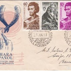 Sellos: 104/07 SAHARA PRO INFANCIA 1953 MUSICOS EN SOBRE PRIMER DIA DEL SERVICIO FILATELICO. Lote 275916218