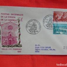 Sellos: SOBRE FIESTAS DECENALES DE LA VIRGEN DE LA CANDELA, VALLS 2-5 FEBRERO 1961. Lote 276123478