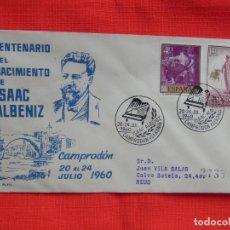 Sellos: SOBRE CENTENARIO DEL NACIMIETNO DE ISAAC ALBENIZ, CAMPRODON 20-24 JULIO 1960. Lote 276125138