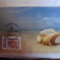 Sellos: TARJETA MAXIMA PRIMER DIA DE NEVIS 1990 CONCHAS. Lote 276494818