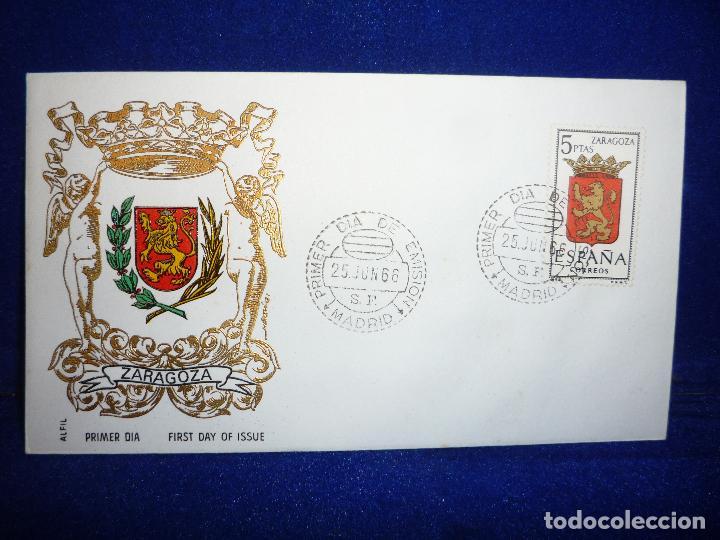 SOBRE Y SELLO 5 PTS PRIMER DIA DE EMISION ZARAGOZA 25 JUNIO 1966 (Sellos - Historia Postal - Sello Español - Sobres Primer Día y Matasellos Especiales)