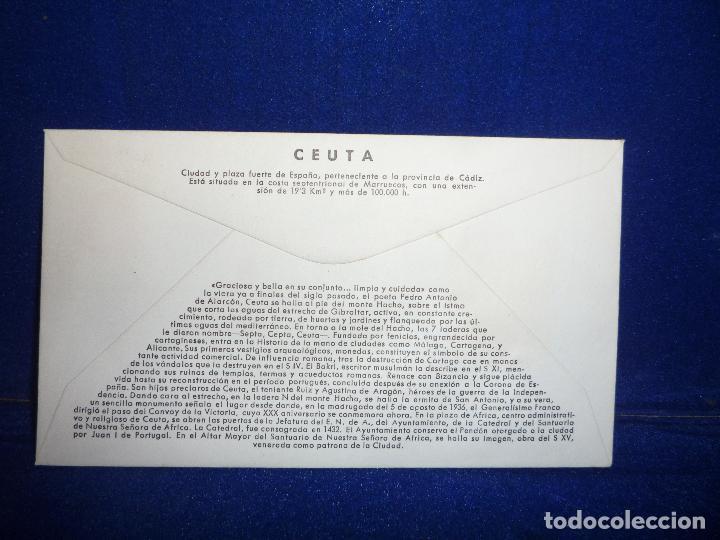 Sellos: SOBRE Y SELLO 5 PTS PRIMER DIA DE EMISION CEUTA 22 JULIO 1966 - Foto 2 - 276957668