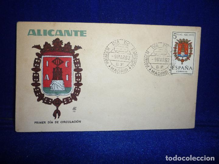 SOBRE Y SELLO 5 PTS PRIMER DIA DE EMISION ALICANTE 9 MARZO 1962 (Sellos - Historia Postal - Sello Español - Sobres Primer Día y Matasellos Especiales)