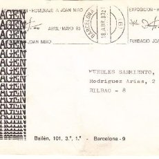 Sellos: SOBRE: 1983 BARCELONA - EXPOSICION HOMENAJE A JOAN MIRO / ELETRO IMAGEN. Lote 277042993