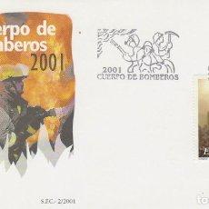 Sellos: EDIFIL 3777, HOMENAJE AL CUERPO DE BOMBEROS, PRIMER DIA DE 19-1-2001. Lote 277048763