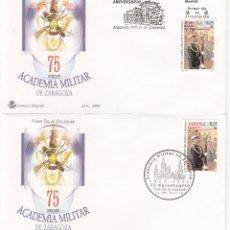 Sellos: 2 MATASELLOS SPD PRIMER DIA 75 ANIVERSARIO ACADEMIA MILITAR EN ZARAGOZA - 2002. Lote 277258263