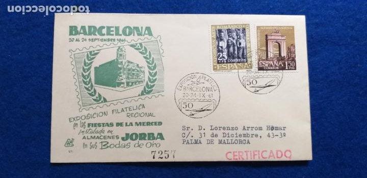 EXPOSICION FILATELICA. BARCELONA 1961. SELLOS Y MATASELLOS. FIESTA DE LA MERCED. ALMACENES JORBA. (Sellos - Historia Postal - Sello Español - Sobres Primer Día y Matasellos Especiales)
