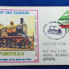 Sellos: SOBRE PRIMER DIA. TREN DEL TAMBOR. PORTILLO ZARAGOZA 2000. SELLO, MATASELLOS. FERROCARRIL LOCOMOTORA. Lote 278217213