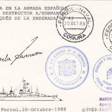 Sellos: MATASELLOS FERROL NAVAL- BAJA EN LA ARMADA DEL DESTRUCTOR MARQUES DE LA ENSENADA -1988-. Lote 278474418