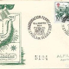 Sellos: TRENES INAUGURACION FERROCARRIL LERIDA-SAINT GIRONS, POBLA DE SEGUR 1951. MATASELLOS SOBRE DE ALFIL. Lote 278623853