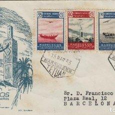 Sellos: MARRUECOS 1953 PAISAJE AVION EN VUELO ED 369/72 EN SOBRE PRIMER DIA CIRCULADO. Lote 278624388