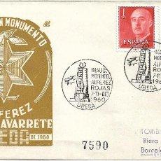 Sellos: INAUGURACION MONUMENTO ALFEREZ ROJAS NAVARRETE, UBEDA (JAEN) 1960. MATASELLOS EN SOBRE DP. RARO. MPM. Lote 278624488