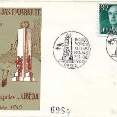 Sellos: INAUGURACION MONUMENTO ALFEREZ ROJAS NAVARRETE, UBEDA (JAEN) 1960. MATASELLOS SOBRE ALFIL. RARO. MPM. Lote 278624953