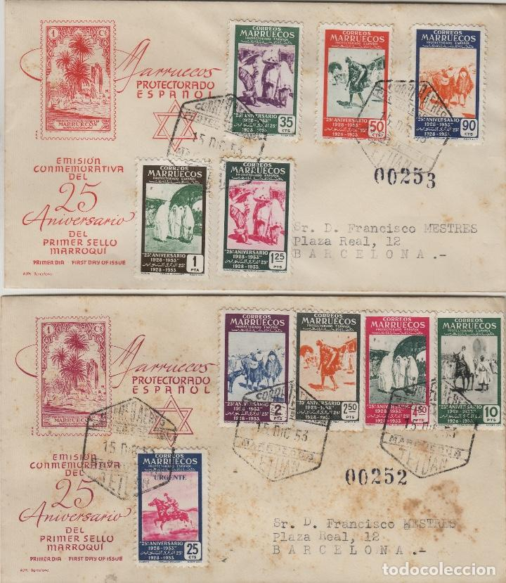 MARRUECOS 1953 XXV ANIVERSARIO ED 384/93 EN SOBRE PRIMER DIA CIRCULADO (Sellos - Historia Postal - Sello Español - Sobres Primer Día y Matasellos Especiales)