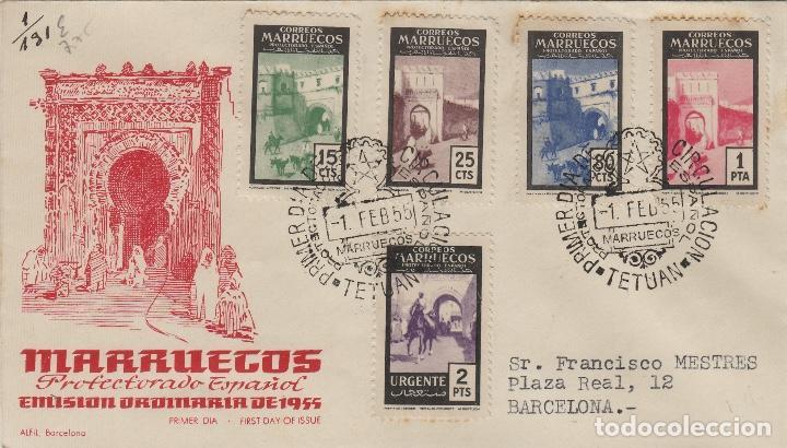 MARRUECOS 1955 PUERTAS TIPICAS ED 400/3 Y 405 EN SOBRE PRIMER DIA CIRCULADO (Sellos - Historia Postal - Sello Español - Sobres Primer Día y Matasellos Especiales)