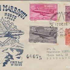 Sellos: MARRUECOS ZONA NORTE 1956 CUATRIMOTOR CONSTELLATION ED 9/12 EN SOBRE PRIMER DIA CIRCULADO ALFIL. Lote 278625558