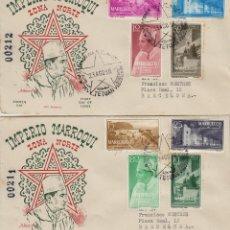 Sellos: MARRUECOS ZONA NORTE TIPOS DIVERSOS 1956 ED 1/8 SOBRE PRIMER DIA CIRCULADO ALFIL MAT DE TETUAN. Lote 278626443