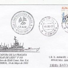 Sellos: MATASELLOS FERROL Y CONST. NAVALES IZAR - BOTADURA FRAGATA BLAS DE LEZO - 2003 - ARMADA ESPAÑOLA. Lote 278825008