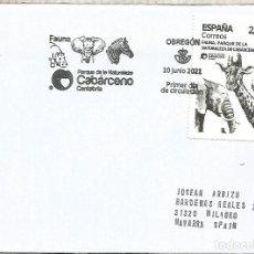 Sellos: ESPAÑA SPAIN FDC OBREGON CANTABRIA PARQUE CABARCENO CEBRA JIRAFA ELEFANTE ELEPHANT ZEBRA. Lote 278972743