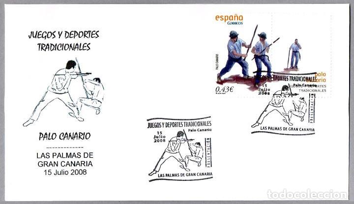 MATASELLOS PRESENTACION - DEPORTES TRADICIONALES - PALO CANARIO. LAS PALMAS G.C., CANARIAS, 2008 (Sellos - Historia Postal - Sello Español - Sobres Primer Día y Matasellos Especiales)