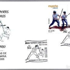 Sellos: MATASELLOS PRESENTACION - DEPORTES TRADICIONALES - PALO CANARIO. LAS PALMAS G.C., CANARIAS, 2008. Lote 278974763