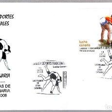 Sellos: MATASELLOS PRESENTACION - DEPORTES TRADICIONALES - LUCHA CANARIA. LAS PALMAS G.C., CANARIAS, 2008. Lote 278975038