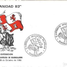 Sellos: CARABELA COLON DESCUBRIMIENTO DE AMERICA II EXPOSICION, GUADALAJARA 1983. MATASELLOS RARA TARJETA IL. Lote 279464123