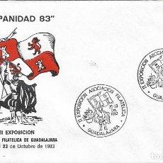 Sellos: CARABELA COLON DESCUBRIMIENTO DE AMERICA II EXPOSICION, GUADALAJARA 1983 MATASELLOS RARO SOBRE ILUST. Lote 279464363