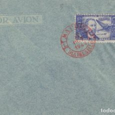 Sellos: DR THEBUSSEM 1944 ED 983 DIA DEL SELLO , FIESTA HISPANIDAD EN SPD PRIMER DIA MADRID TINTA ROJA. Lote 280728398