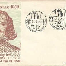 Sellos: ESOPO PINTURA DIEGO VELAZQUEZ 1959 (EDIFIL 1245) EN SOBRE PRIMER DIA DE ALFIL. RARO ASI.. Lote 280842168