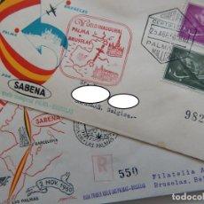 Sellos: 2 SOBRES / VUELO INAUGURAL DE PALMA 1956 Y PRIMER VUELO DE LAS PALMAS 1960 A BRUSELAS / SABENA. Lote 282209758