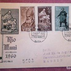 Francobolli: RIO MUNI VELAZQUEZ DIA DEL SELLO 1960 (EDIFIL 14/17) EN SPD CIRCULADO, VER IMAGEN. AL DORSO. Lote 287373478