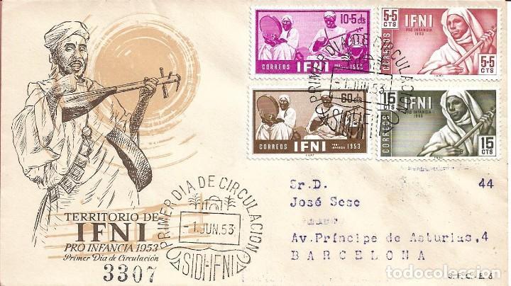 IFNI PRO INFANCIA 1953 MUSICA MUSICOS INDIGENAS (EDIFIL 95/98) EN SPD CIRCULADO SERVICIO FILATELICO. (Sellos - Historia Postal - Sello Español - Sobres Primer Día y Matasellos Especiales)