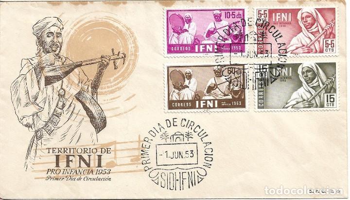 IFNI PRO INFANCIA 1953 MUSICA MUSICOS INDIGENAS (EDIFIL 95/98) EN SPD DEL SERVICIO FILATELICO. MPM (Sellos - Historia Postal - Sello Español - Sobres Primer Día y Matasellos Especiales)
