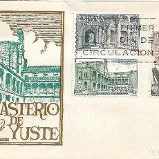 Sellos: MONASTERIO DE YUSTE CACERES 1965 (EDIFIL 1686/88) EN SOBRE PRIMER DIA DE SOBREFIL. RARO ASI.. Lote 288659678