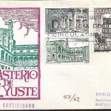 Sellos: MONASTERIO DE YUSTE CACERES 1965 (EDIFIL 1686/88) EN SOBRE PRIMER DIA CIRCULADO DE EG. RARO ASI.. Lote 288660243