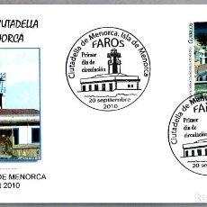 Sellos: MATASELLOS PRIMER DIA - FARO DE CIUTADELLA DE MENORCA. CIUTADELA, BALEARES, 2010. Lote 288865783
