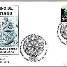 Sellos: MATASELLOS PRESENTACION - CAMINO DE SANTIAGO - CRISMON MAGNA PORTA. JACA, HUESCA, ARAGON, 2016. Lote 288866353