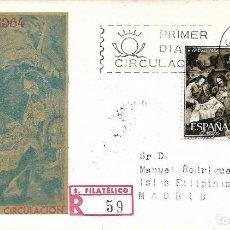 Sellos: NAVIDAD 1964 PINTURA DE ZURBARAN (EDIFIL 1630 DOS SELLOS) SPD CIRCULADO DEL SERVICIO FILATELICO. MPM. Lote 288926648