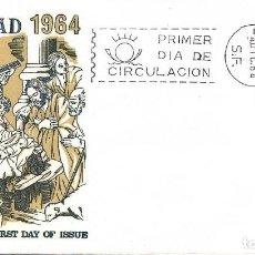 Sellos: NAVIDAD 1964 PINTURA NACIMIENTO ZURBARAN (EDIFIL 1630) SOBRE PRIMER DIA SIN CIRCULAR DE ALFIL. RARO.. Lote 288927373