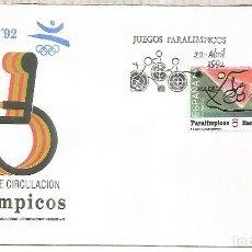 Sellos: ESPAÑA SPAIN FDC JUEGOS PARALIMPICOS BARCELONA 92. Lote 289539068