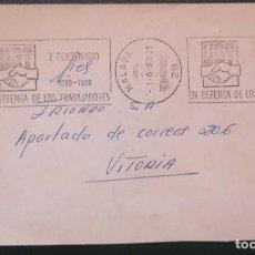 Sellos: 1988 MÁLAGA , I CENTENARIO SINDICATO UGT - SOBRE MATASELLOS DE RODILLO 1988. Lote 292062348