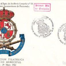 Sellos: SOBRE: 1982 PONTEVEDRA. DIA DE LAS FUERZAS ARMADAS. ENTREGA ESTANDARTE RGTO ARTILLERIA CAMPAÑA 28. Lote 293949003