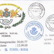 Sellos: EL FERROL NAVAL - 12 DE SEPTIEMBRE DEL 2000 CIERRE DE LA ESTAFETA - DORSO FIRMA ÚLTIMO DIRECTOR OFIC. Lote 294023383