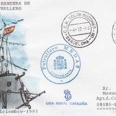 Sellos: FILATELIA NAVAL -ENTREGA BANDERA COMBATE AL PATRULLERO MEDAS EN BARCELONA -1993. Lote 294025463