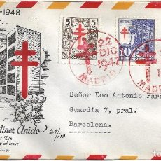 Sellos: SANATORIO MARTINEZ ANIDO PRO TUBERCULOSOS 1947 (EDIFIL 1017/18) SPD CIRCULADO ET MOD 2 RARO ASI. MPM. Lote 294070128