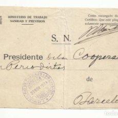 Sellos: FRONTAL FRANQUICIA MINISTERIO DE TRABAJO 1934 DE MADRID COOPERATIVA VIVIENDAS PERIODISTAS BARCELONA. Lote 294145783