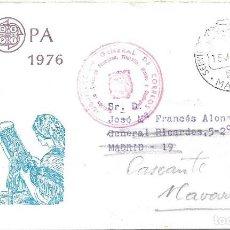 Sellos: EUROPA CEPT 1976 EN SOBRE PRIMER DIA SERVICIO FILATELICO CIRCULADO CON FRANQUICIA A CASCANTE NAVARRA. Lote 295453633